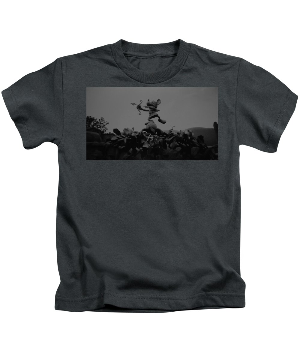 Black And White Kids T-Shirt featuring the photograph Mickey Mouse In Black And White by Rob Hans