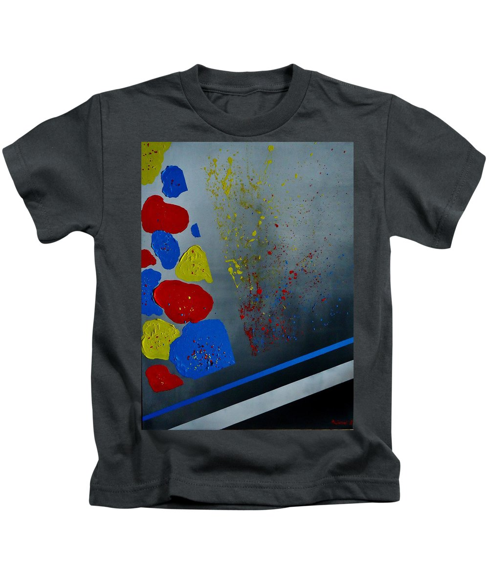 Microcosmos Kids T-Shirt featuring the painting Microcosmos by Katerina Pejsova
