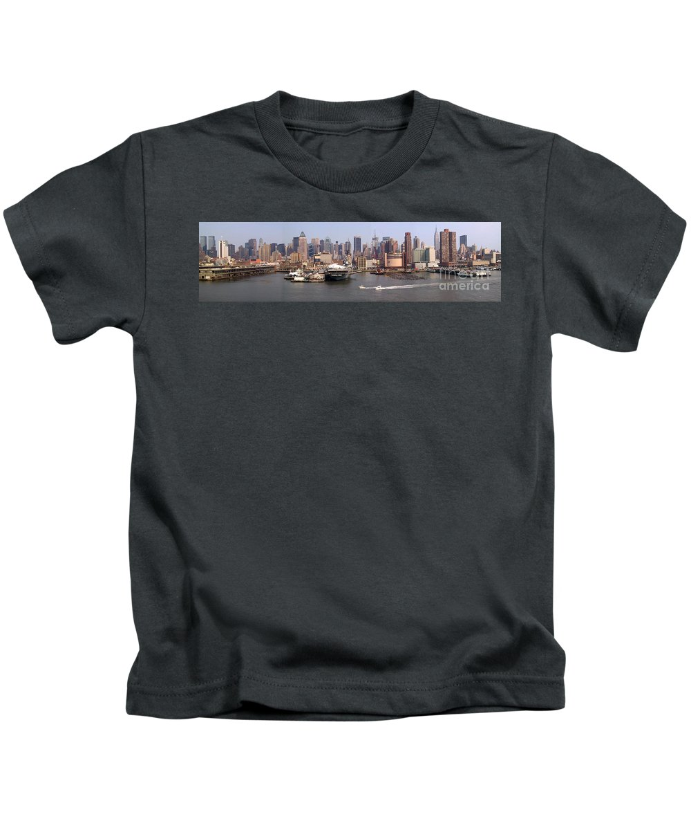 Manhattan Kids T-Shirt featuring the photograph Midtown Manhattan Panorama by Thomas Marchessault