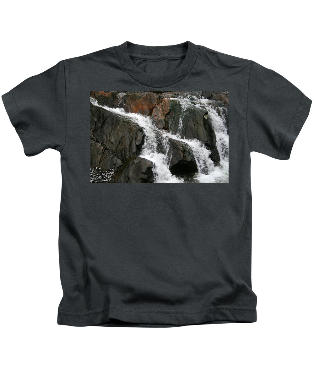 Water Waterfall Rush Rushing Cold River Creek Stream Rock Stone Wave White Wet Kids T-Shirt featuring the photograph Might by Andrei Shliakhau