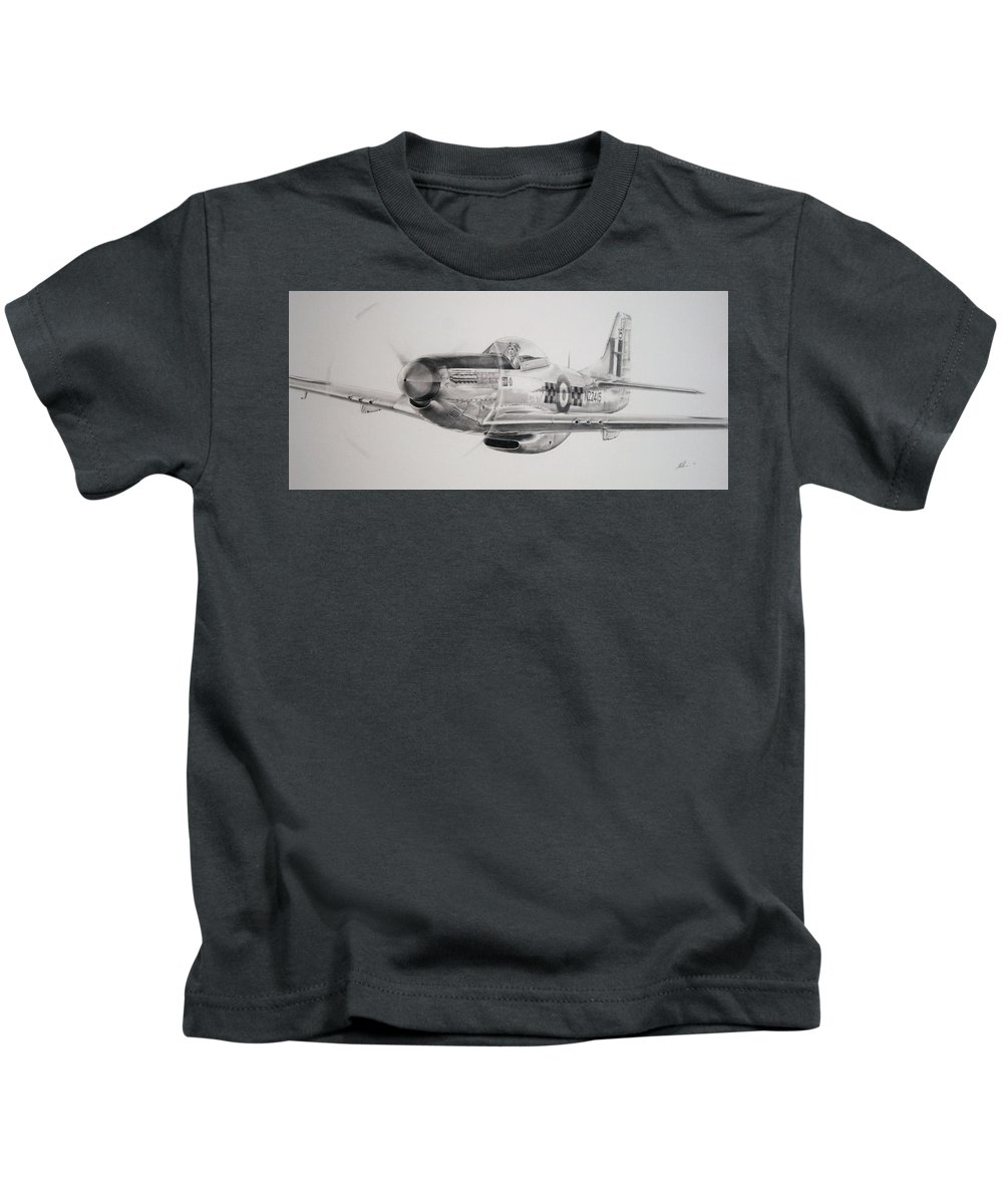 Aircraft Kids T-Shirt featuring the drawing Mighty Mustang by James Baldwin Aviation Art