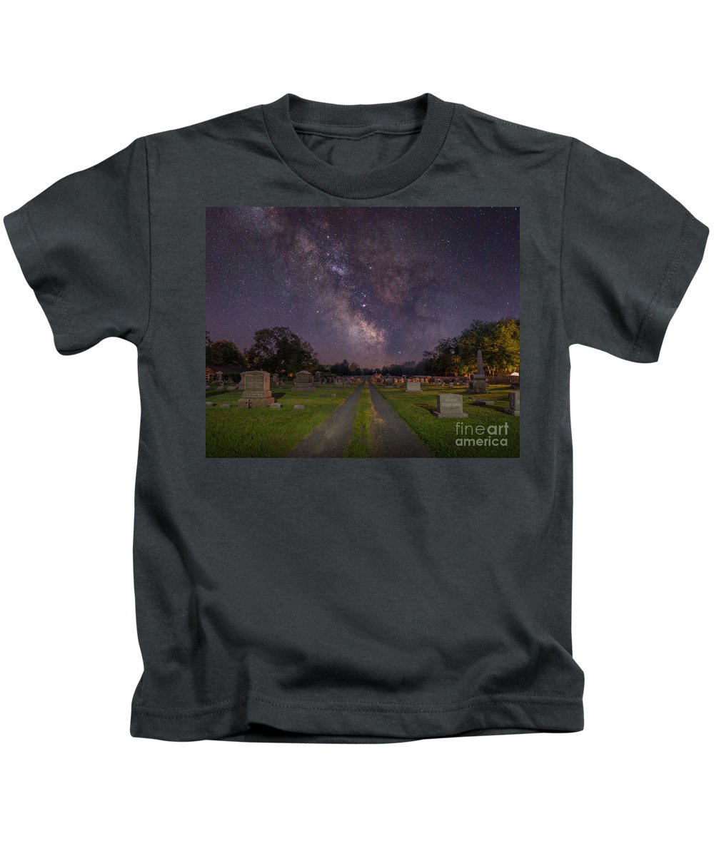 Cemetery Spins Kids T-Shirt featuring the photograph Milky Way Cemetery by Michael Ver Sprill