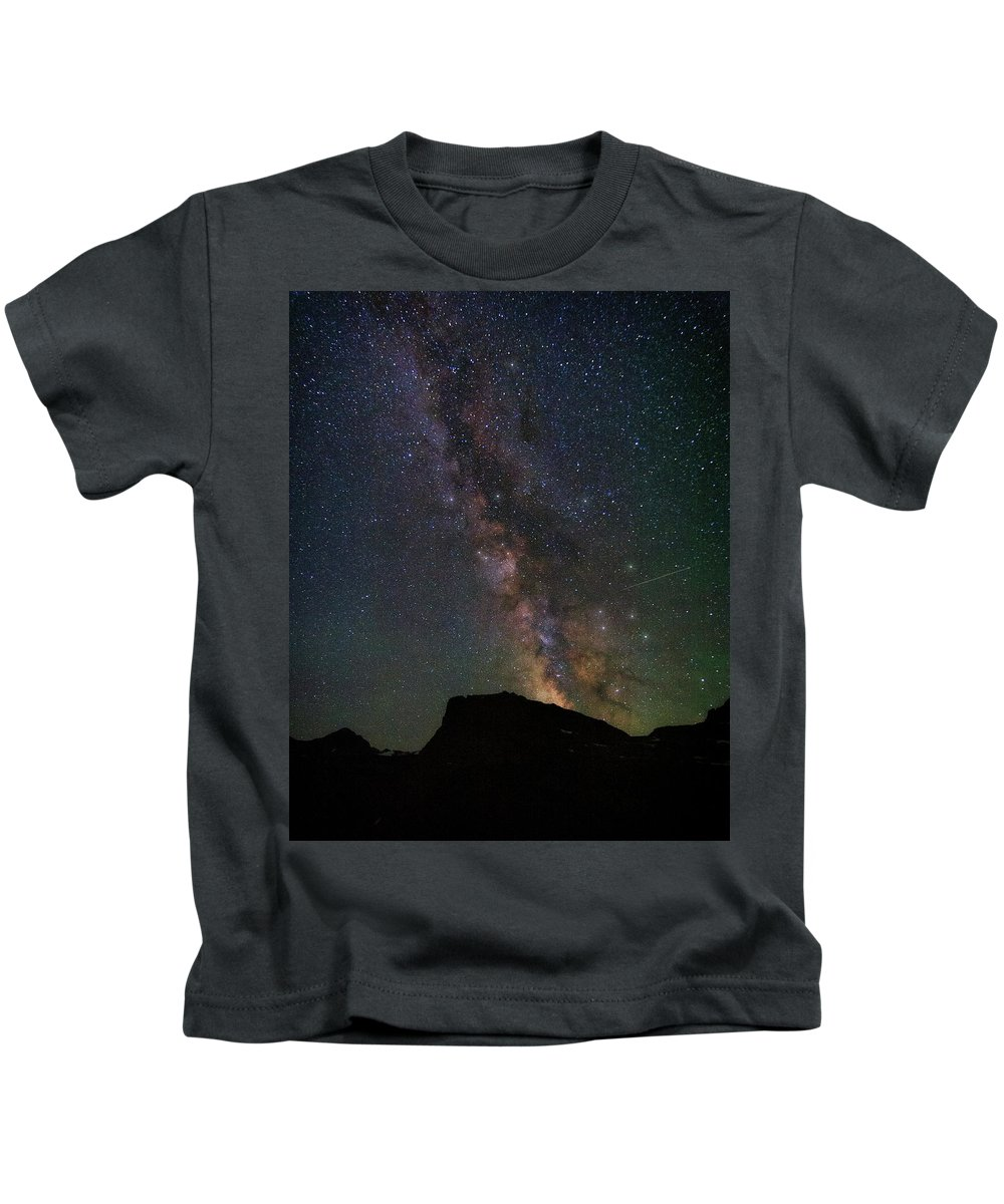 Astrophotography Kids T-Shirt featuring the photograph Milkyway Over Chief Mt by Alan Anderson