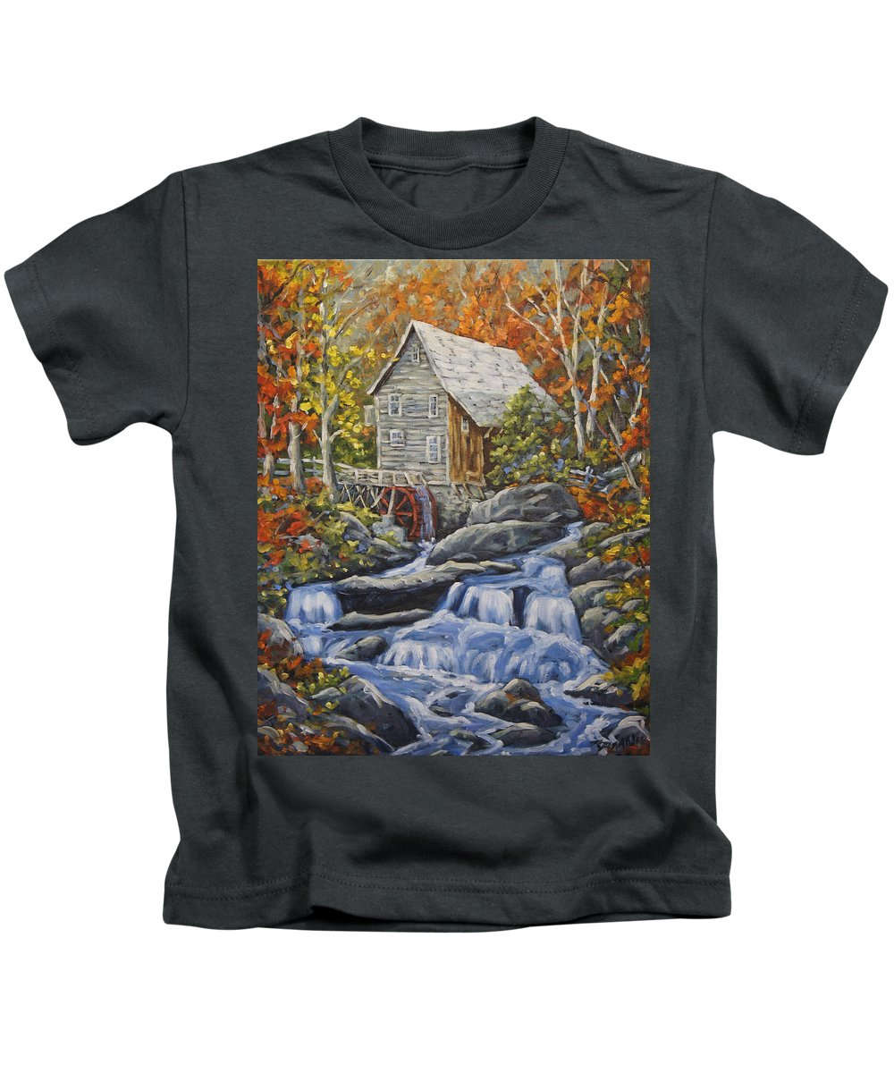 Art Kids T-Shirt featuring the painting Mill Scene 03 by Richard T Pranke