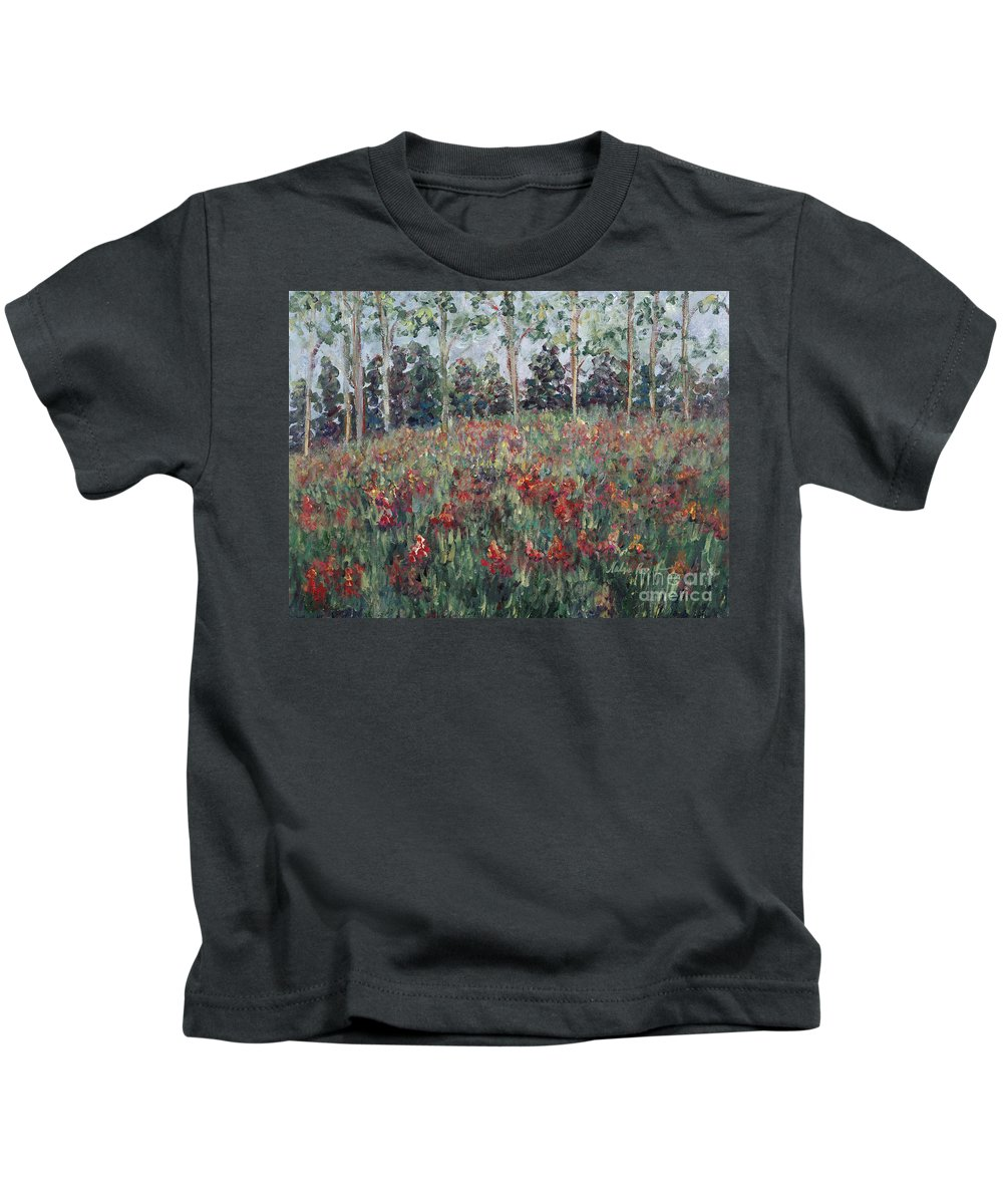 Landscape Kids T-Shirt featuring the painting Minnesota Wildflowers by Nadine Rippelmeyer