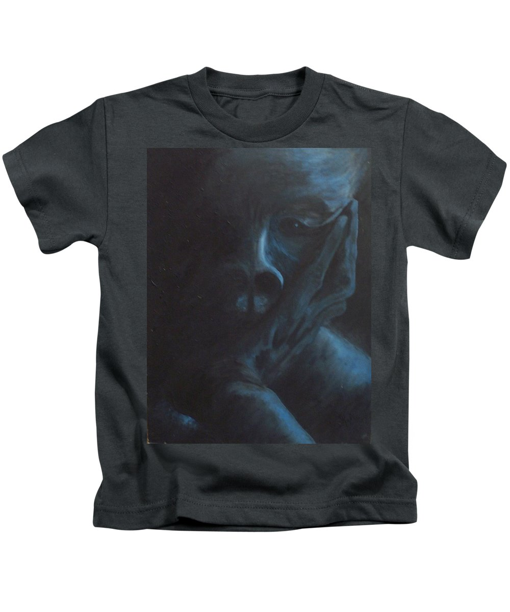 Sad Kids T-Shirt featuring the painting Misery by Gale Cochran-Smith