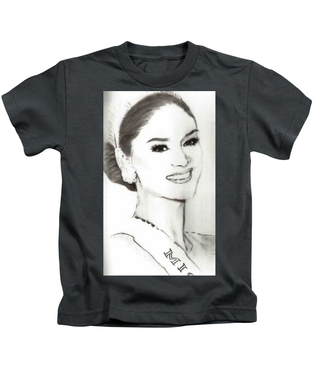 Beauty Kids T-Shirt featuring the drawing Miss Universe 2015 by Edwin Songalia