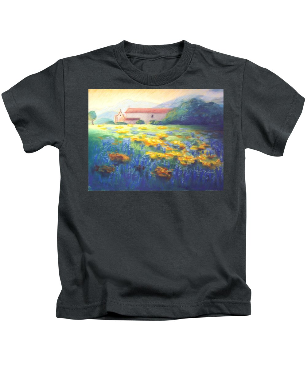 California Mission Paintings Kids T-Shirt featuring the pastel Mission Wildflowers by Karin Leonard