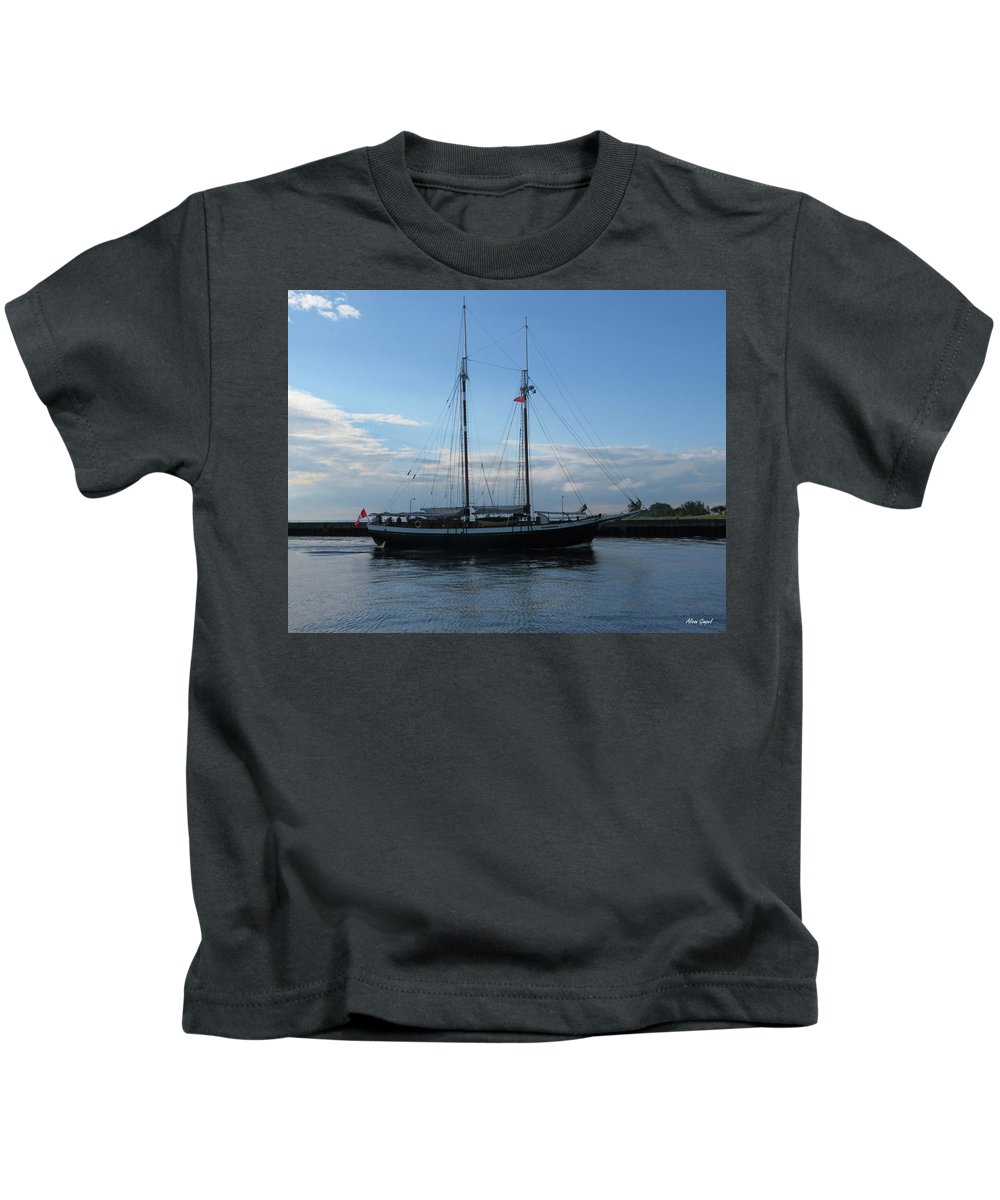 Tall Ships Kids T-Shirt featuring the photograph Mist Of Avalon by Alison Gimpel