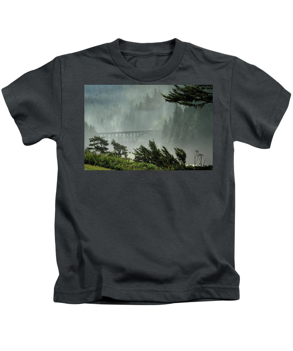 Misty Kids T-Shirt featuring the photograph Misty Bridge At Heceta Head by James Eddy