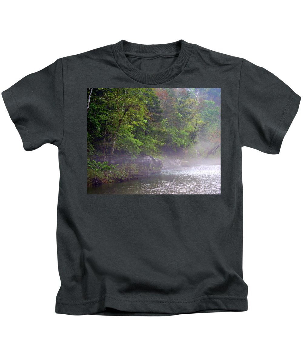 Buffalo National River Kids T-Shirt featuring the photograph Misty Morning On The Buffalo by Marty Koch