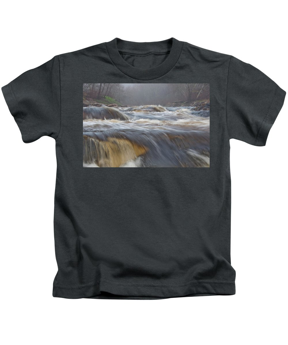 Photography Kids T-Shirt featuring the photograph Misty Morning On The River by Steven Natanson