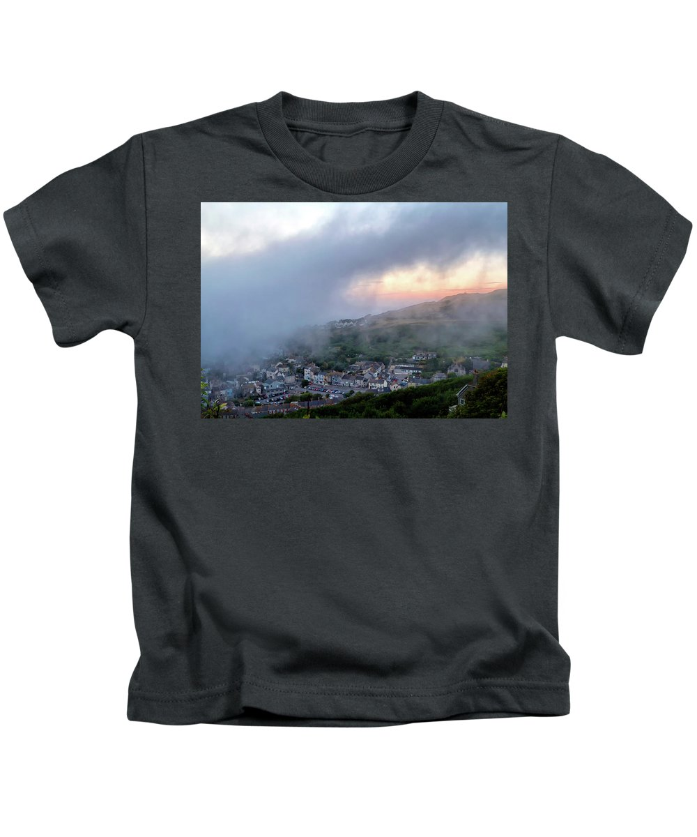 Nature Kids T-Shirt featuring the photograph Misty Sunset by Shirley Mitchell