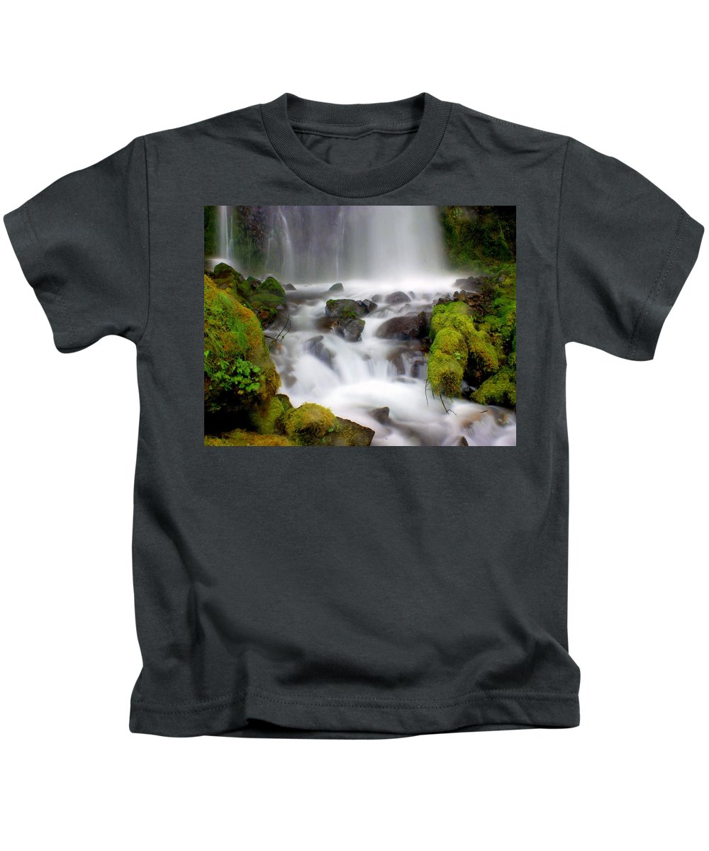Waterfall Kids T-Shirt featuring the photograph Misty Waters by Marty Koch