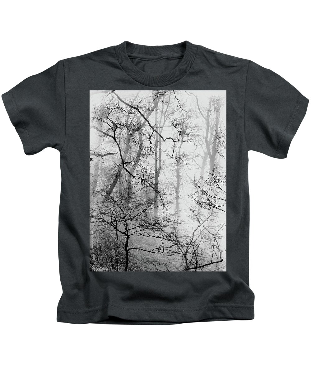 Kids T-Shirt featuring the photograph Misty Woods, Whitley Mill by Iain Duncan