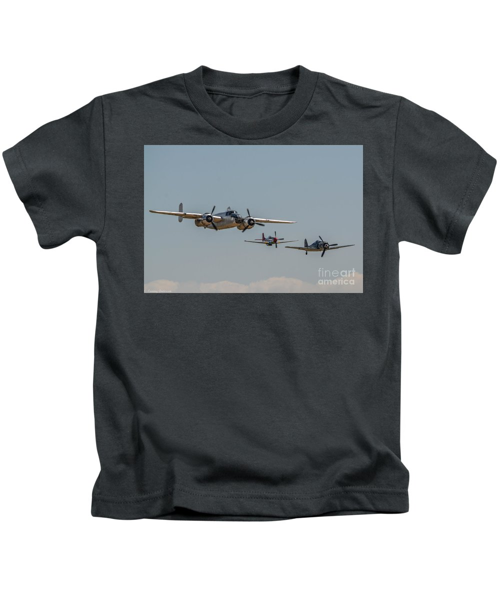 North American B-25 Mitchell Kids T-Shirt featuring the photograph Mitchell And Friends by Tommy Anderson
