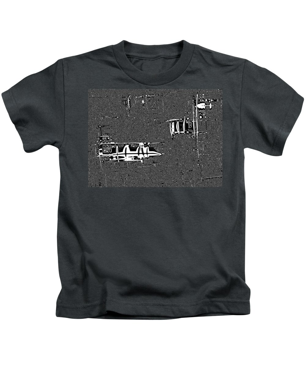 Modern Warfare Kids T-Shirt featuring the digital art Modern Warfare by Alex Porter