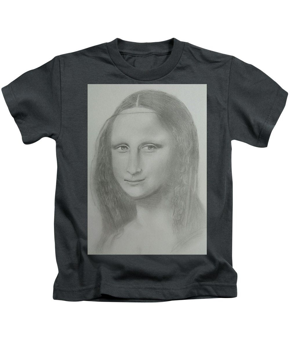 Mona Lisa Kids T-Shirt featuring the drawing Mona Lisa by Paul Blackmore
