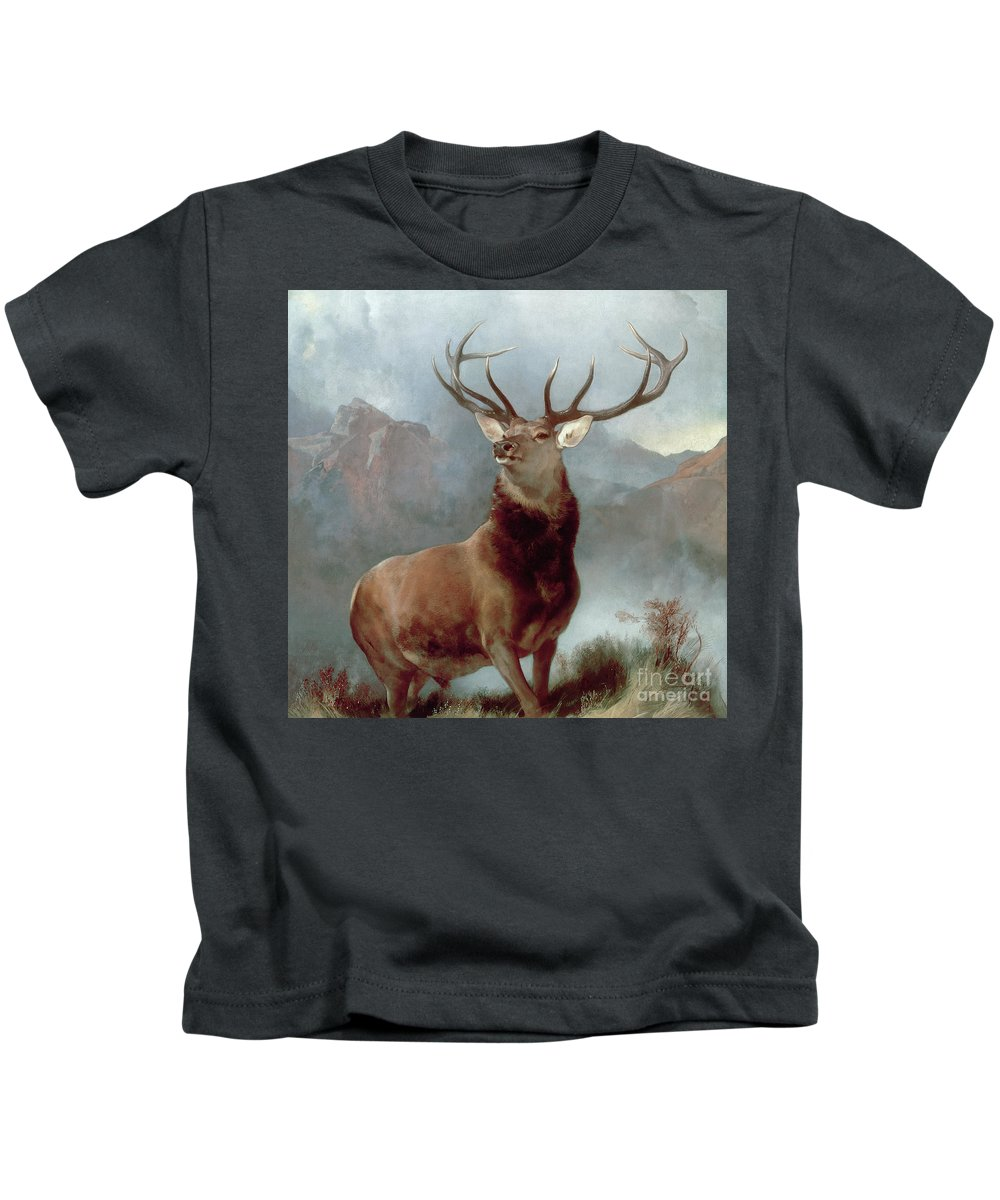 Monarch Kids T-Shirt featuring the painting Monarch Of The Glen by Sir Edwin Landseer