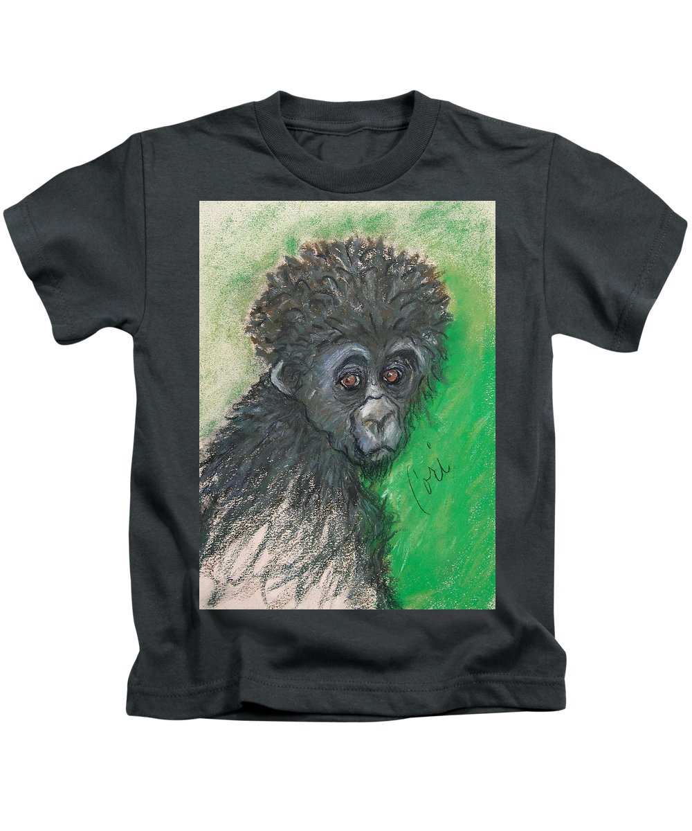 Monkey Kids T-Shirt featuring the drawing Monkey Business by Cori Solomon