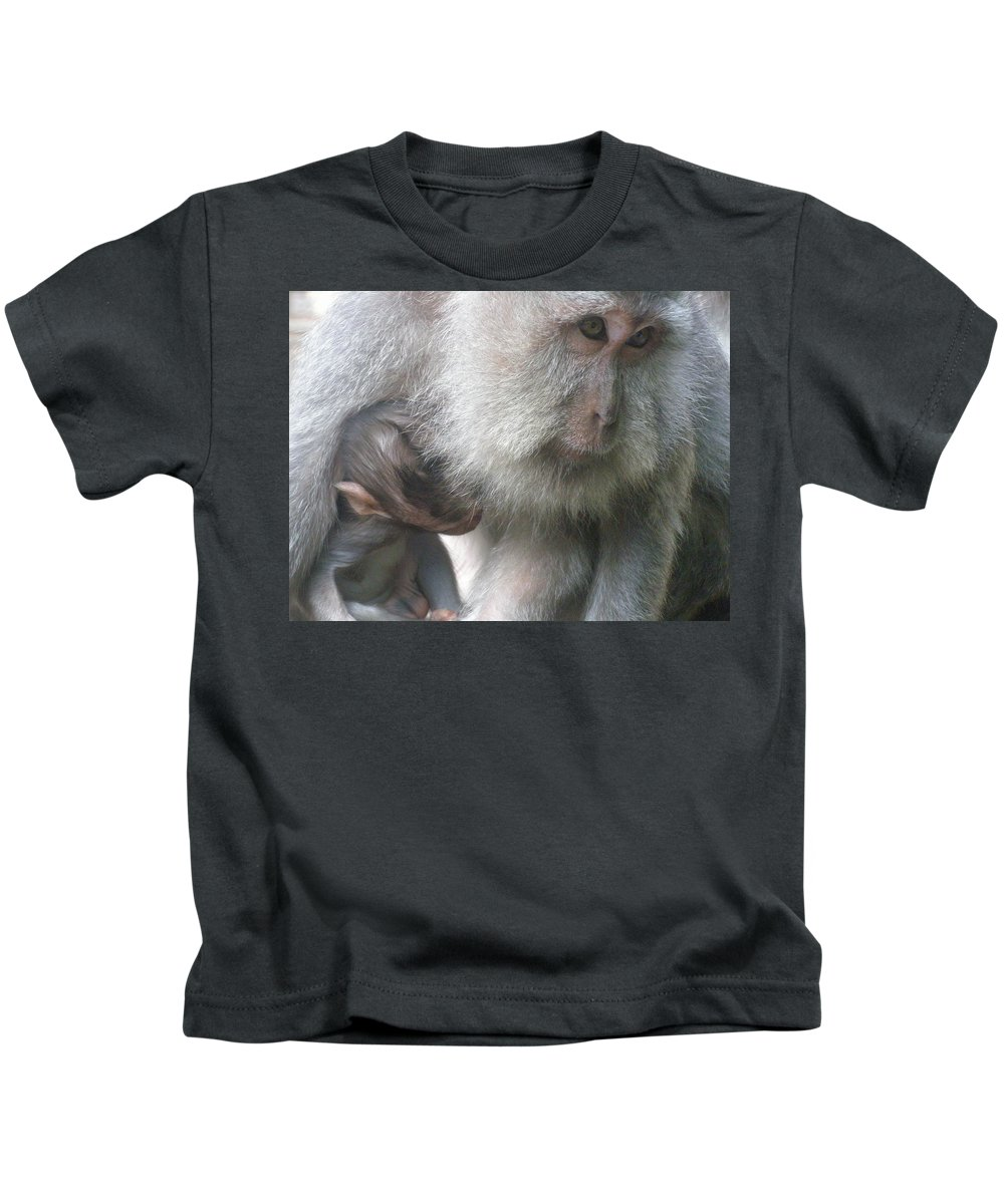 Bali Kids T-Shirt featuring the photograph Monkey Mother 3 by Mark Sellers