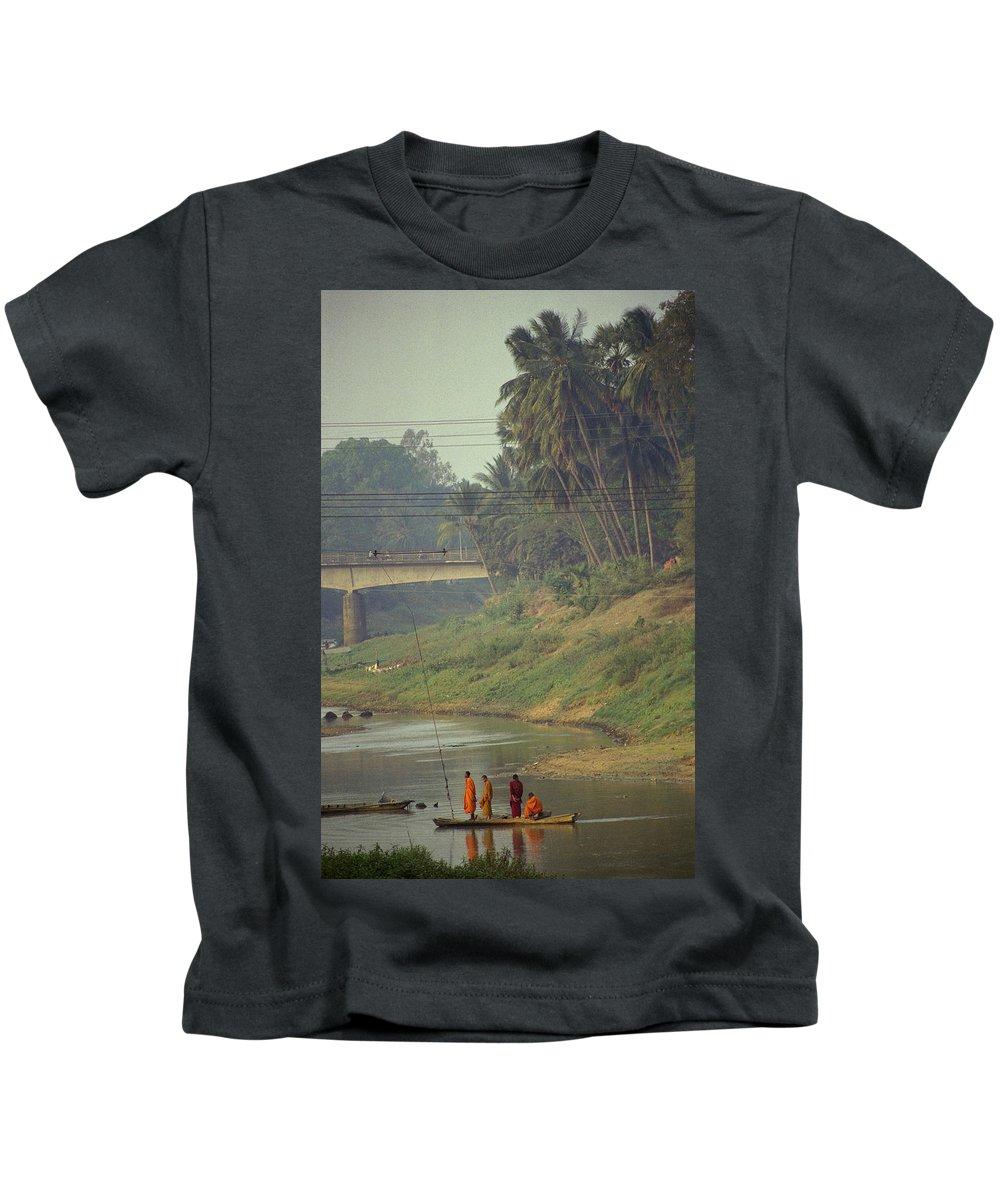 Monks Kids T-Shirt featuring the photograph Monks - Battambang by Patrick Klauss