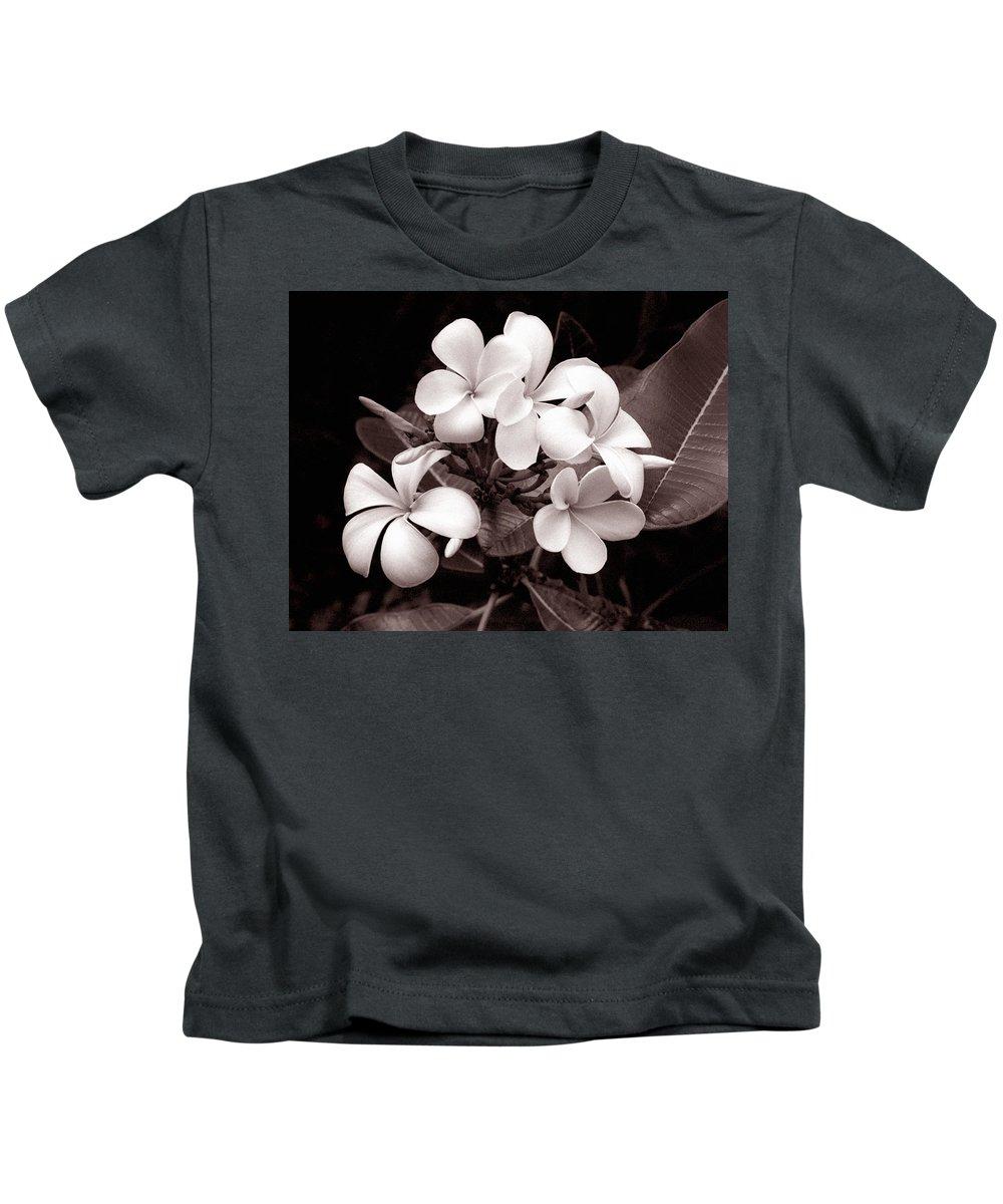 Plumeria Kids T-Shirt featuring the photograph Monochrome Hawaii No. 3 by Bill Morson