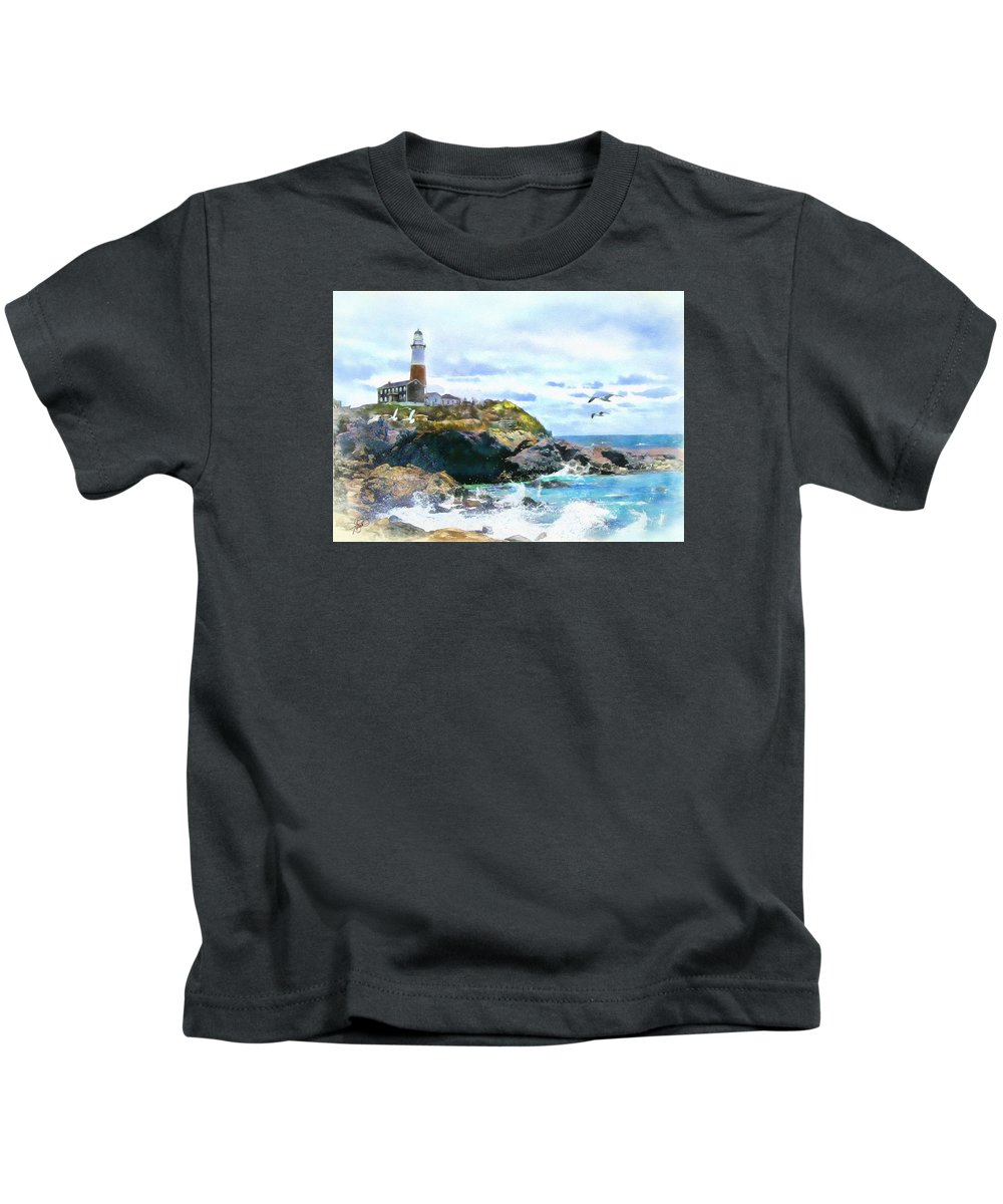 Lighthouse Kids T-Shirt featuring the painting Montauk Point Light by Tom Schmidt