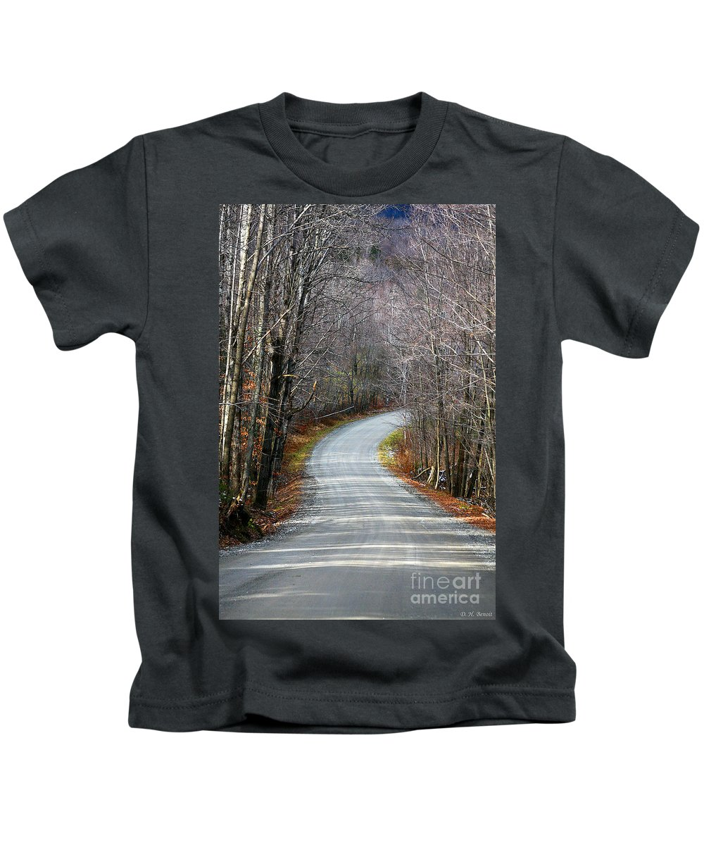 Road Kids T-Shirt featuring the photograph Montgomery Mountain Road by Deborah Benoit