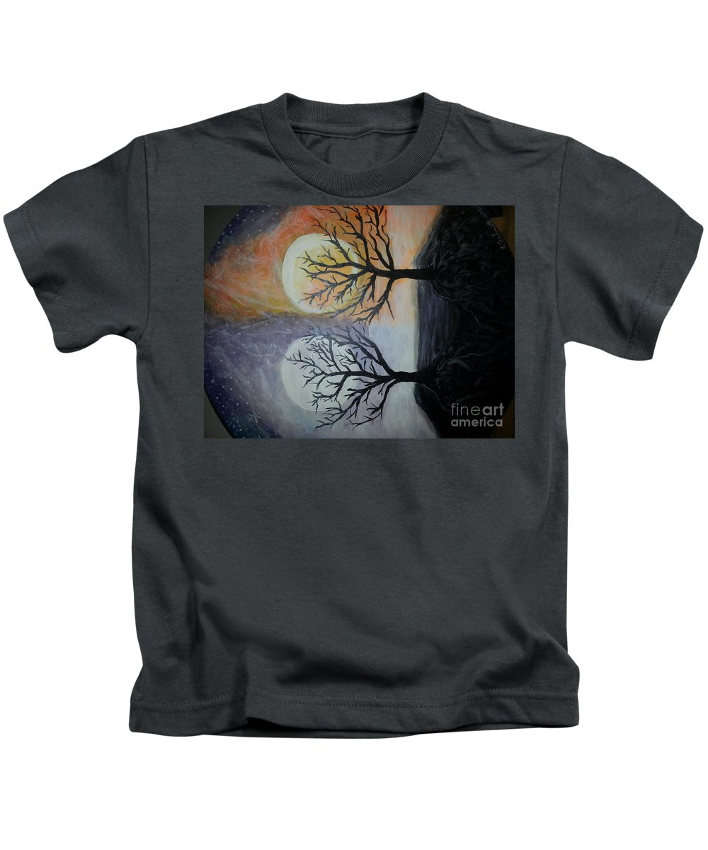 Moon And Sun Kids T-Shirt featuring the painting Moon And Sun by Ana Maria Alida Schmidt