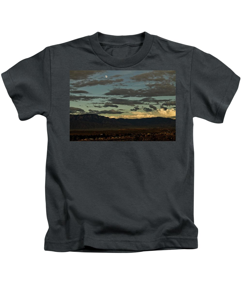 Moon Kids T-Shirt featuring the photograph Moon Over Albuquerque by Keith Peacock