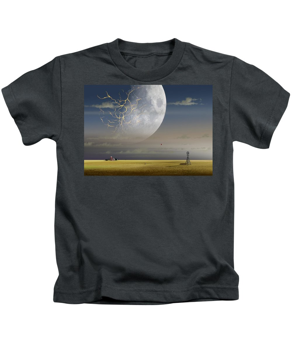 Landscape Kids T-Shirt featuring the digital art Moonfall by Kaname