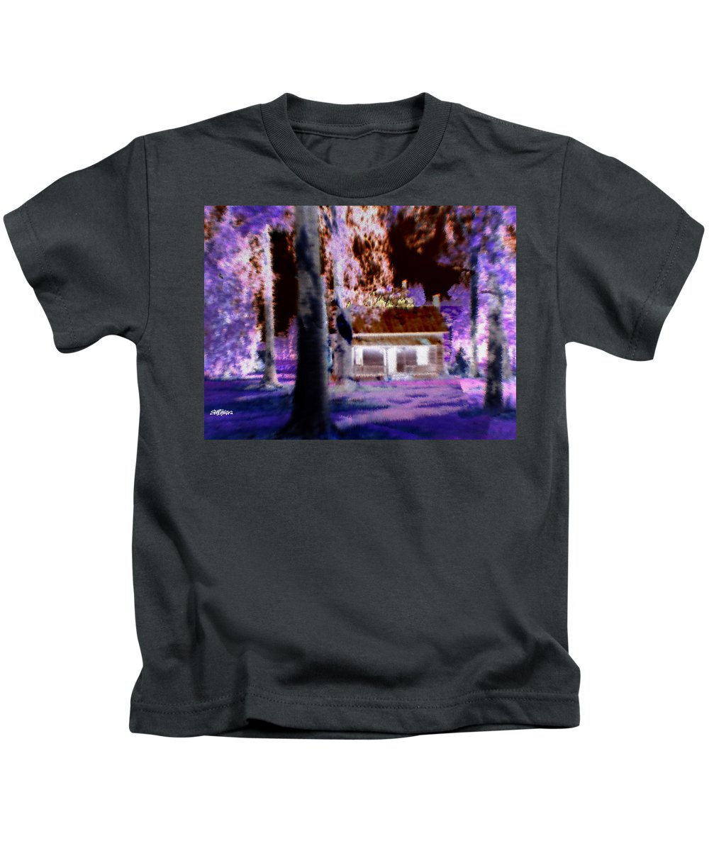 Cabin Kids T-Shirt featuring the digital art Moonlight Cabin by Seth Weaver