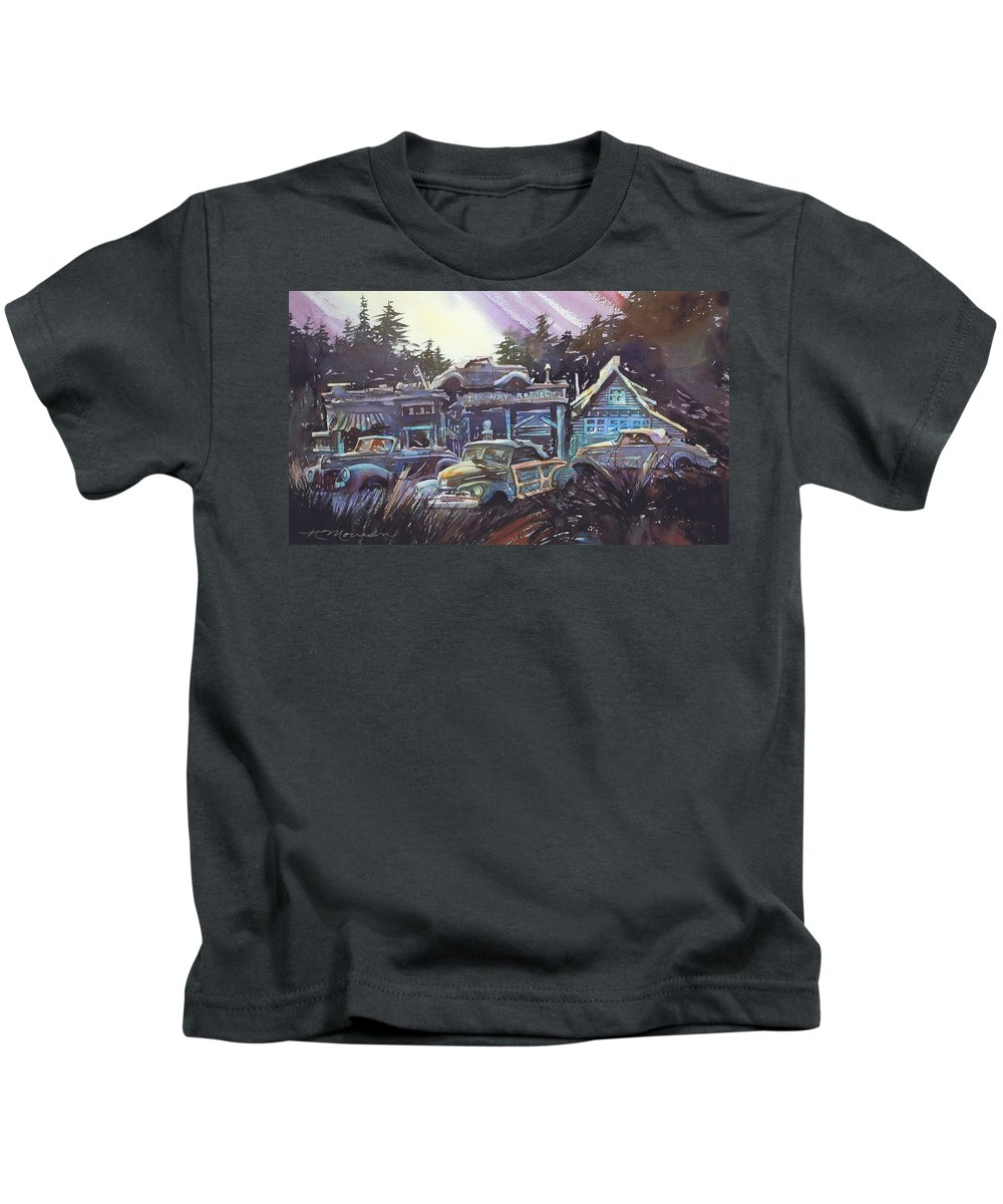 Ford Convertibles Kids T-Shirt featuring the painting Moonlight Cabriolets by Ron Morrison