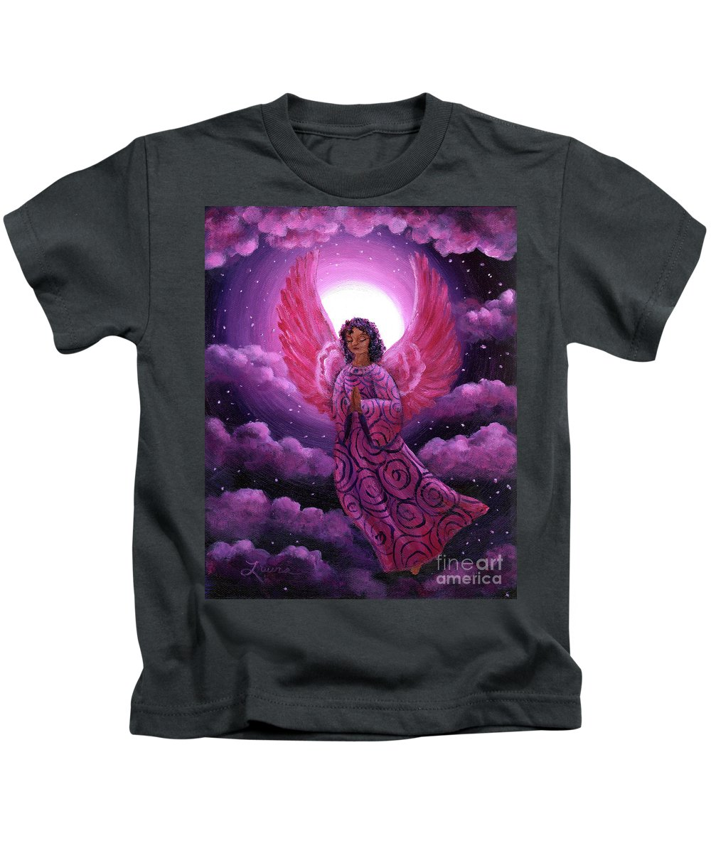 Painting Kids T-Shirt featuring the painting Moonlight Hope by Laura Iverson
