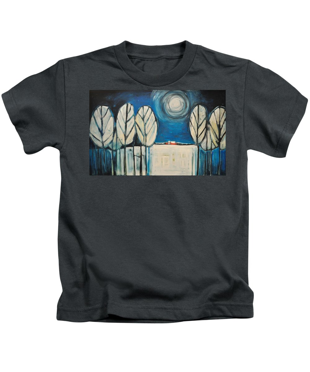 Landscape Kids T-Shirt featuring the painting Moonlight On The First Snow by Tim Nyberg