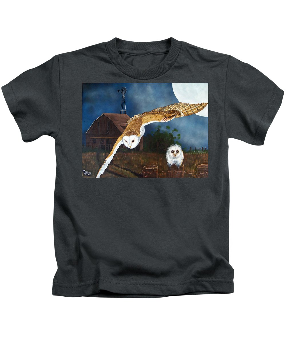 Owl Kids T-Shirt featuring the painting Moonlit Flight by Debbie LaFrance