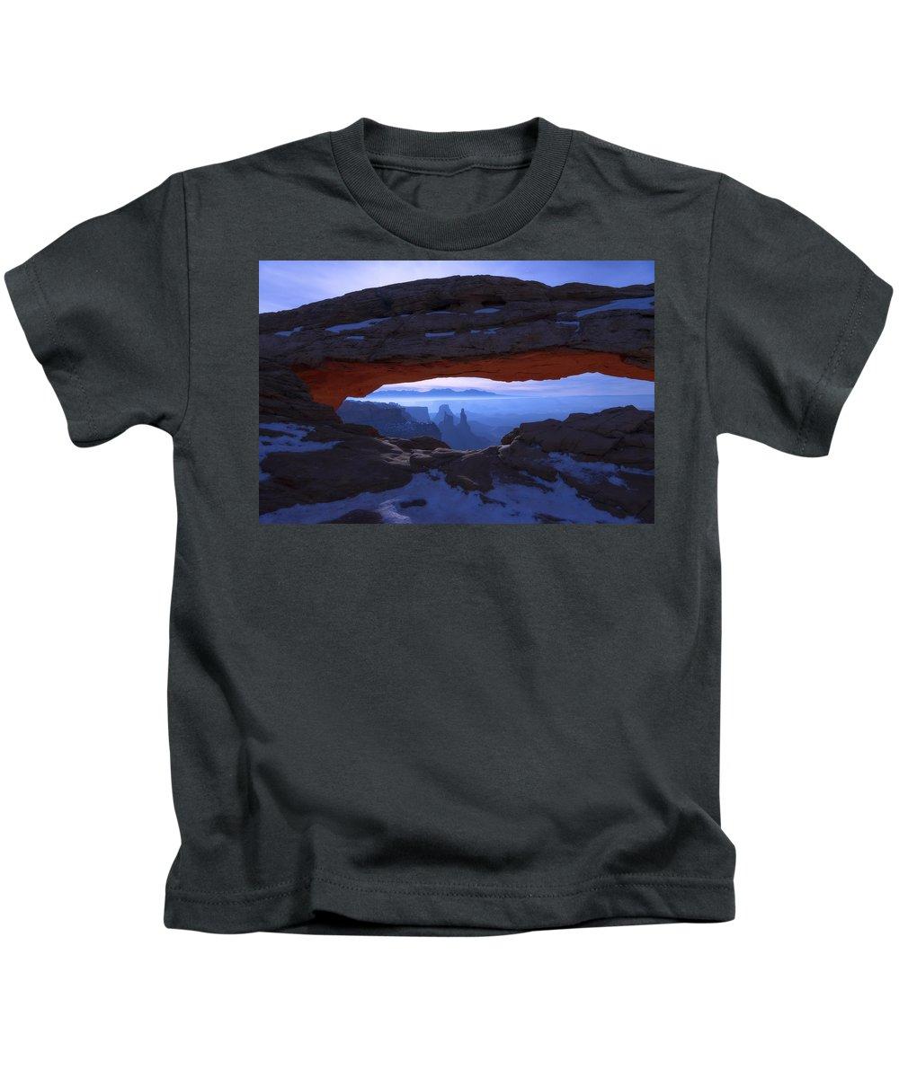 Moonlit Mesa Kids T-Shirt featuring the photograph Moonlit Mesa by Chad Dutson