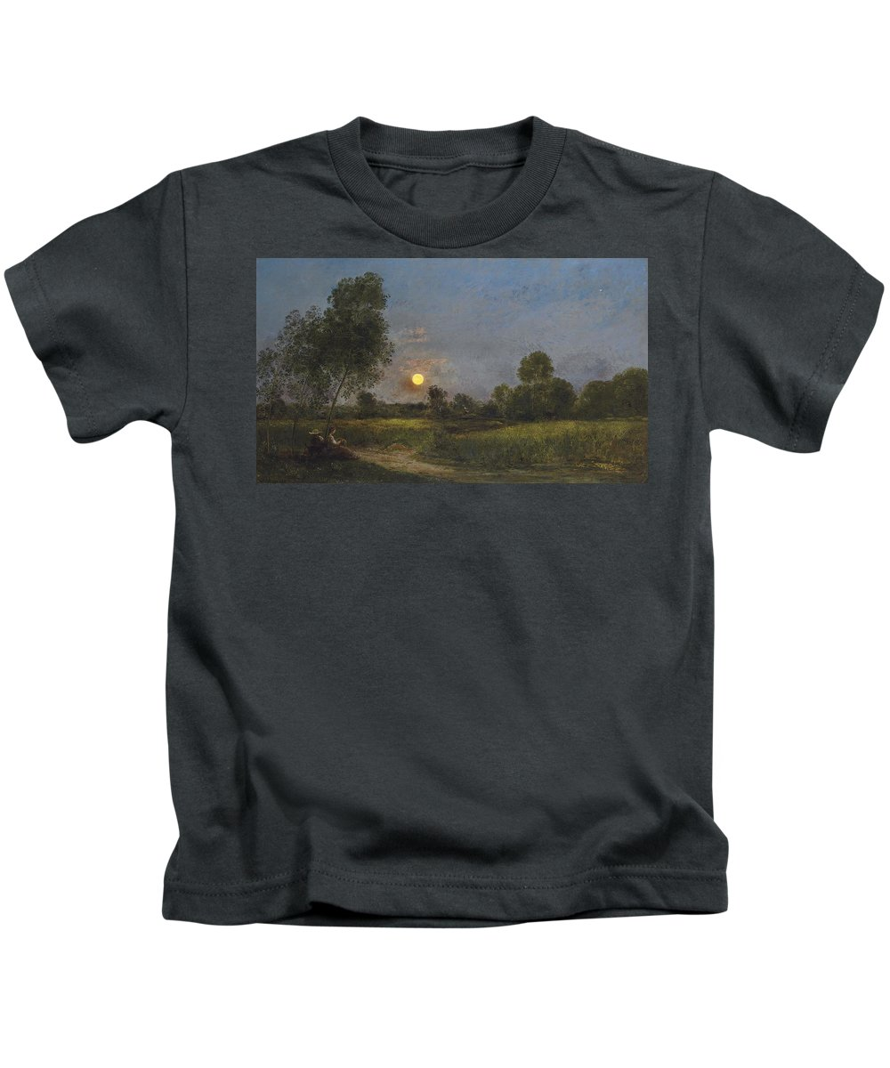 Moonrise Kids T-Shirt featuring the painting Moonrise by Charles Francois Daubigny