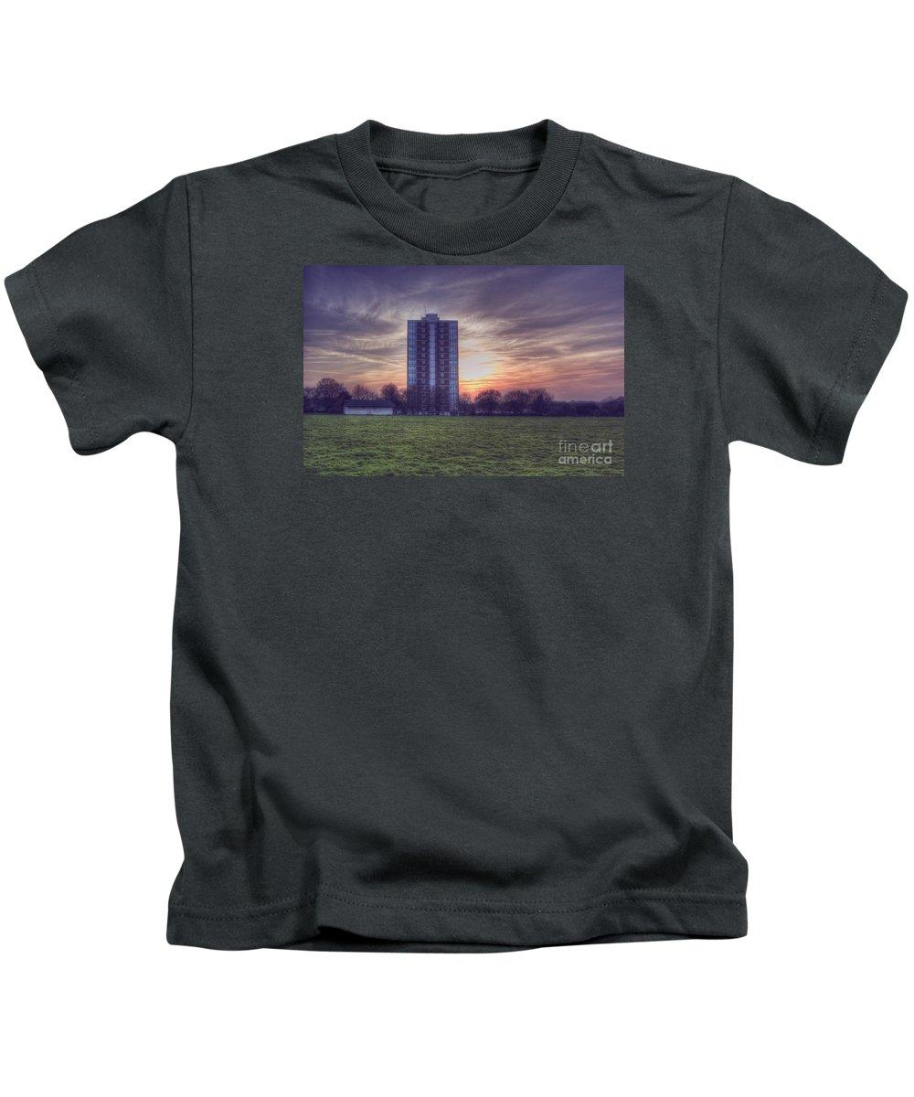 Moor Tower Kids T-Shirt featuring the digital art Moor Tower Sunset by Nigel Bangert