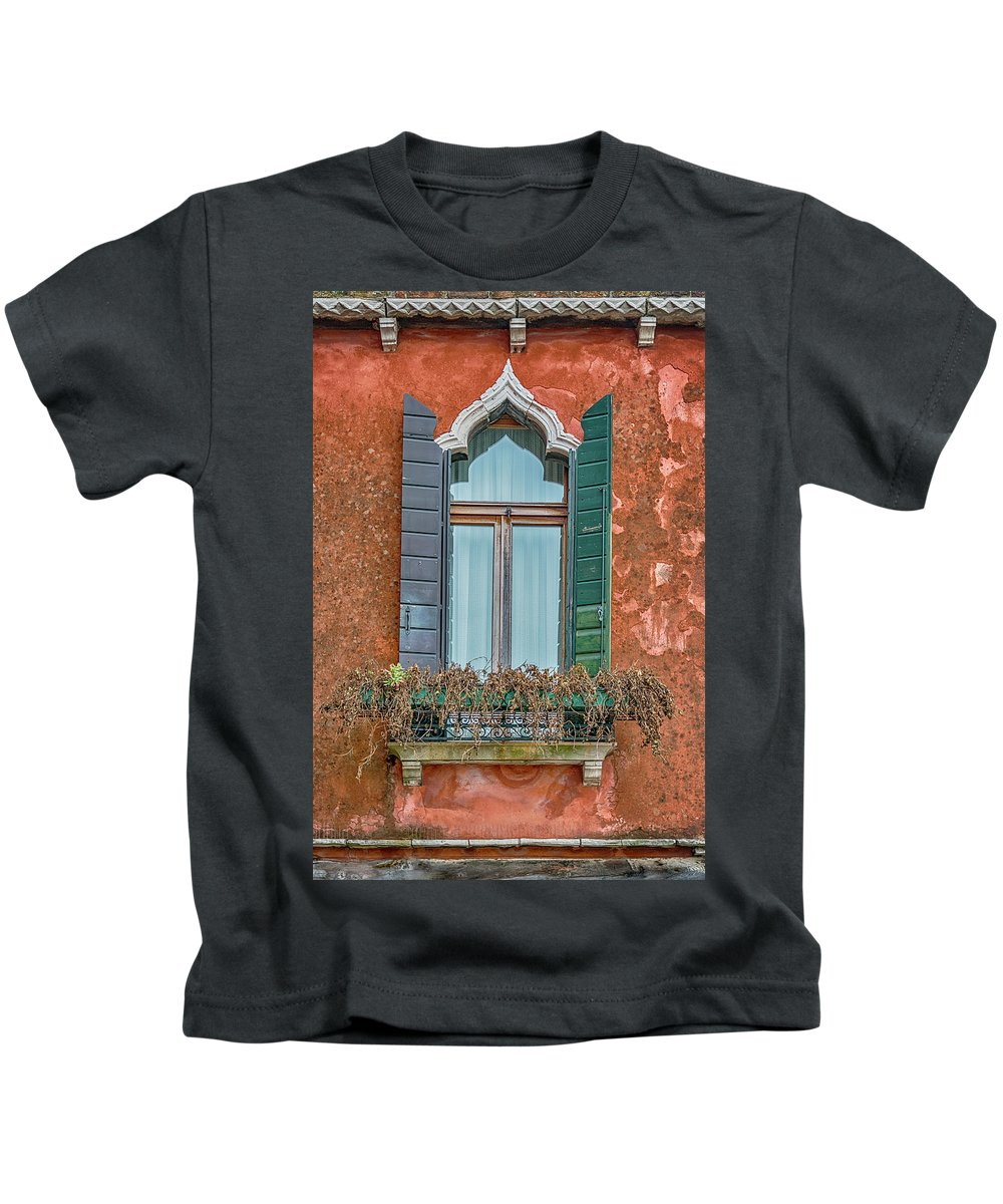 Italy Kids T-Shirt featuring the photograph Moorish Window And Texture Venice_dsc5350_03052017 by Greg Kluempers