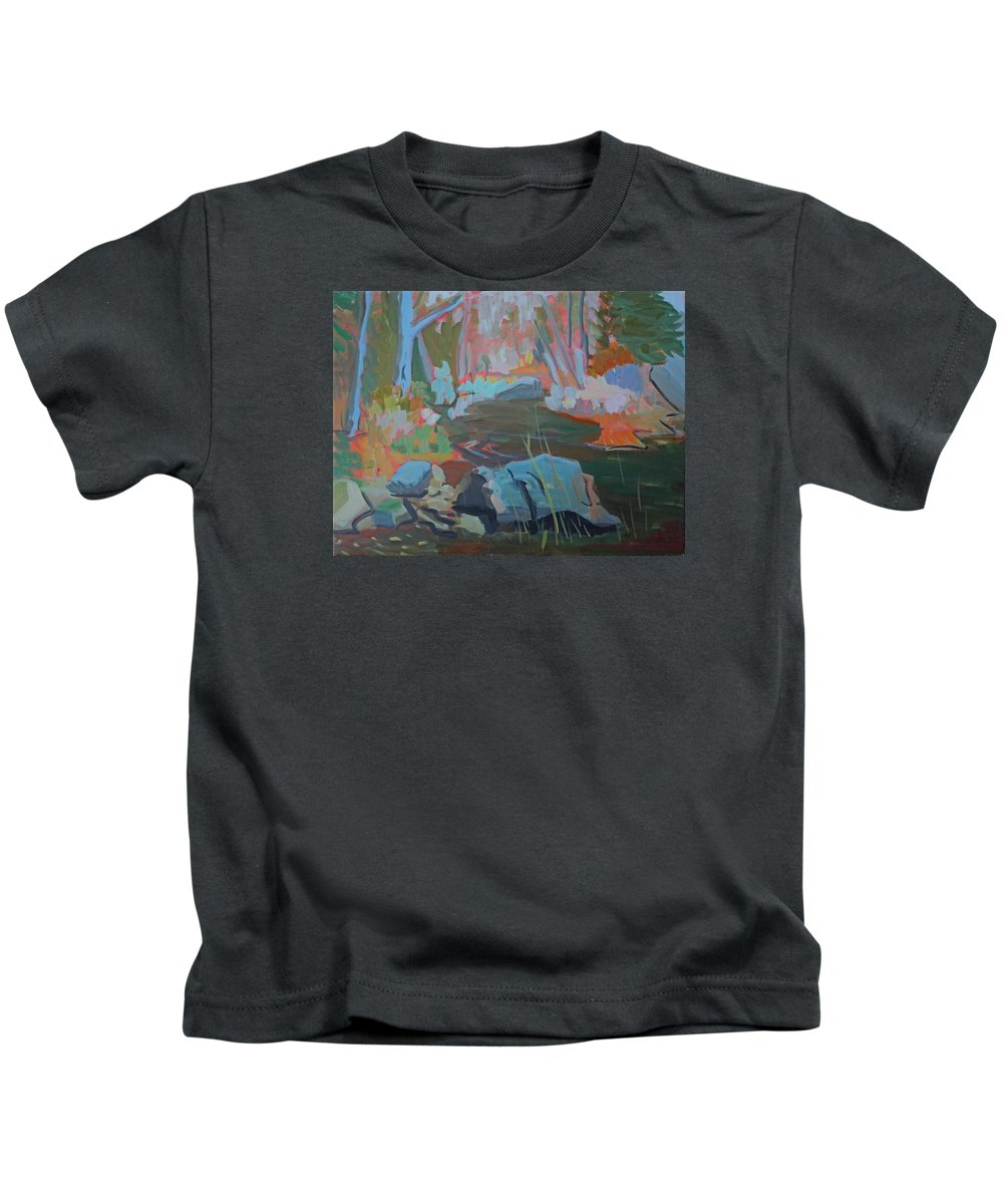 Landscape Kids T-Shirt featuring the painting Moose Lips Brook by Francine Frank