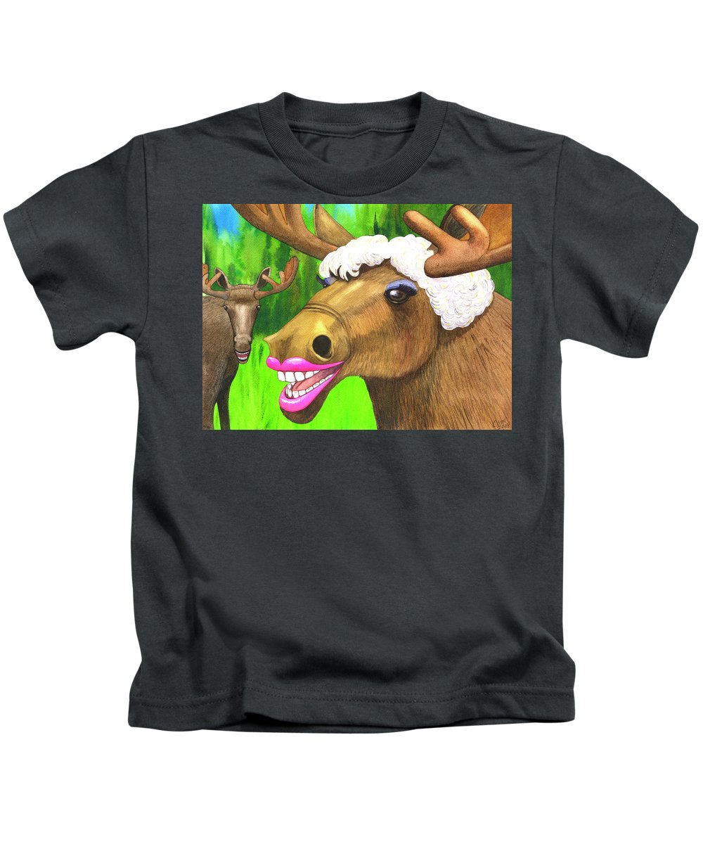 Moose Kids T-Shirt featuring the painting Moose Lips by Catherine G McElroy
