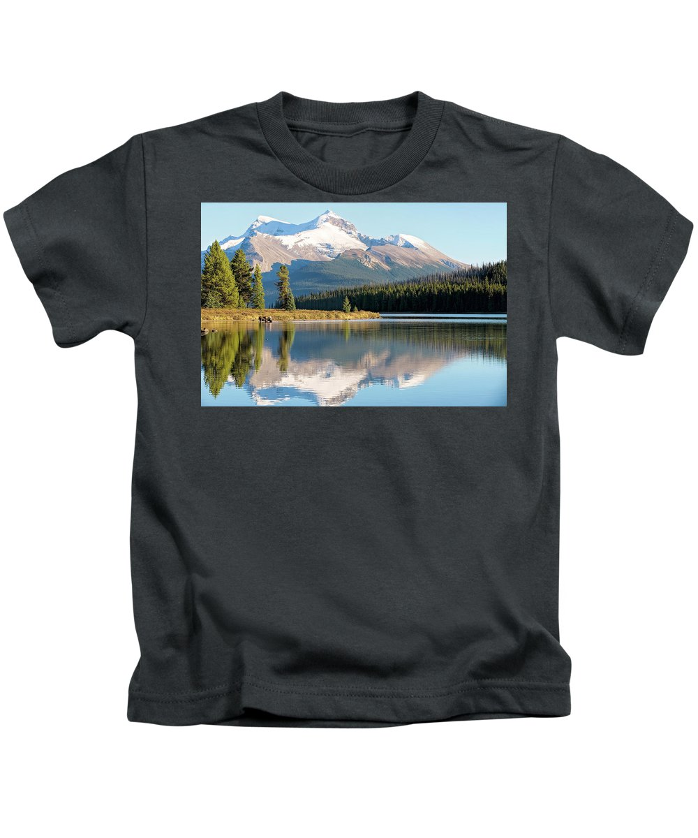 Moose Kids T-Shirt featuring the photograph Moose On The Lake by Deborah Penland