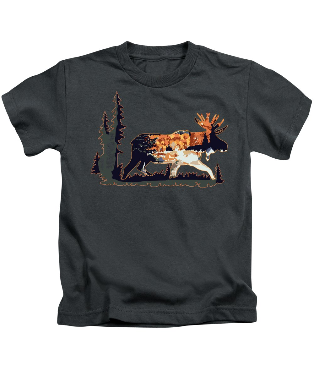 Moose Kids T-Shirt featuring the digital art Moose by Victoria Sinkevych