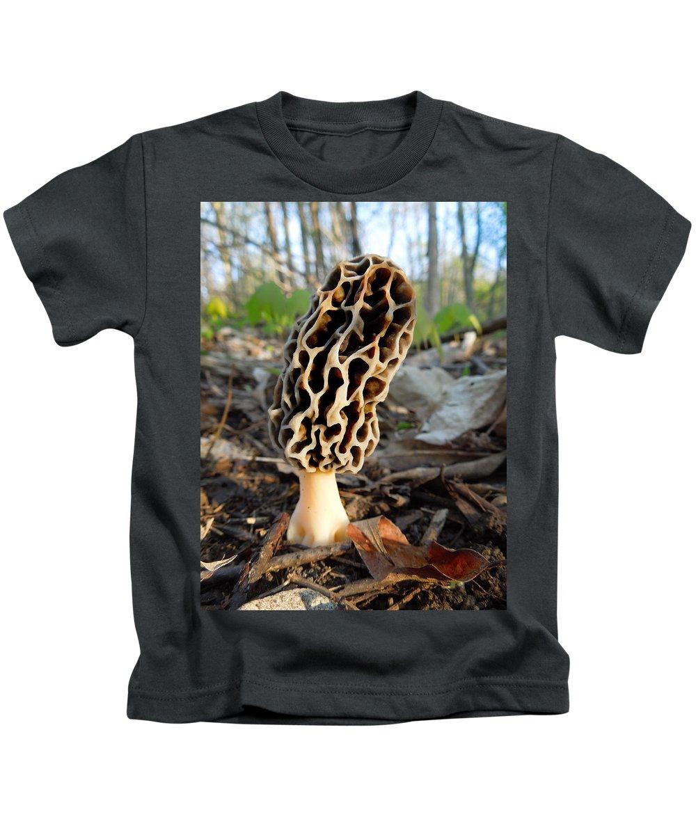 Morel Kids T-Shirt featuring the photograph Morel Mushroom by Jayne Gulbrand