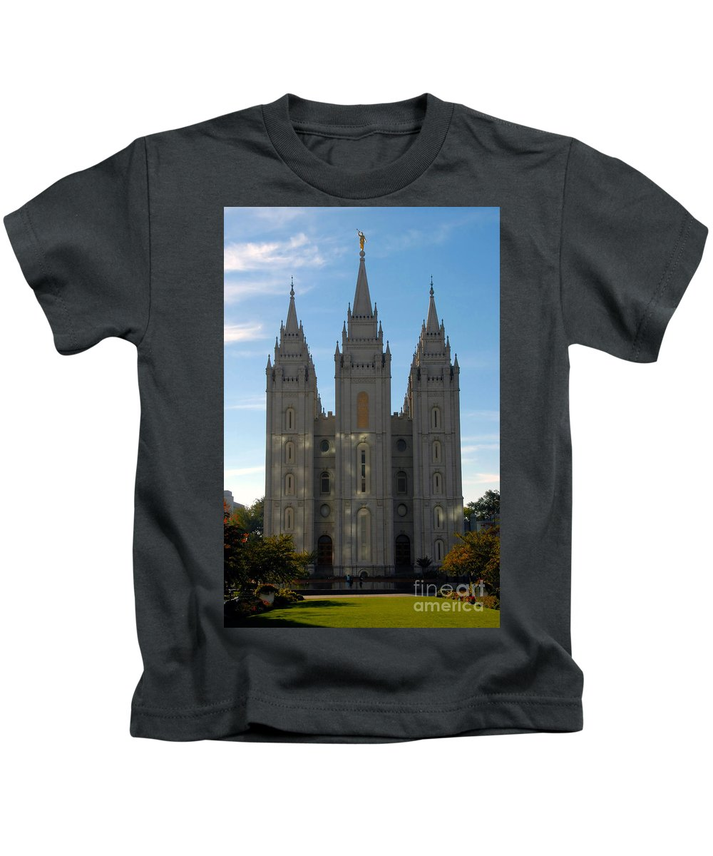 Mormon Kids T-Shirt featuring the photograph Mormon Temple Fall by David Lee Thompson