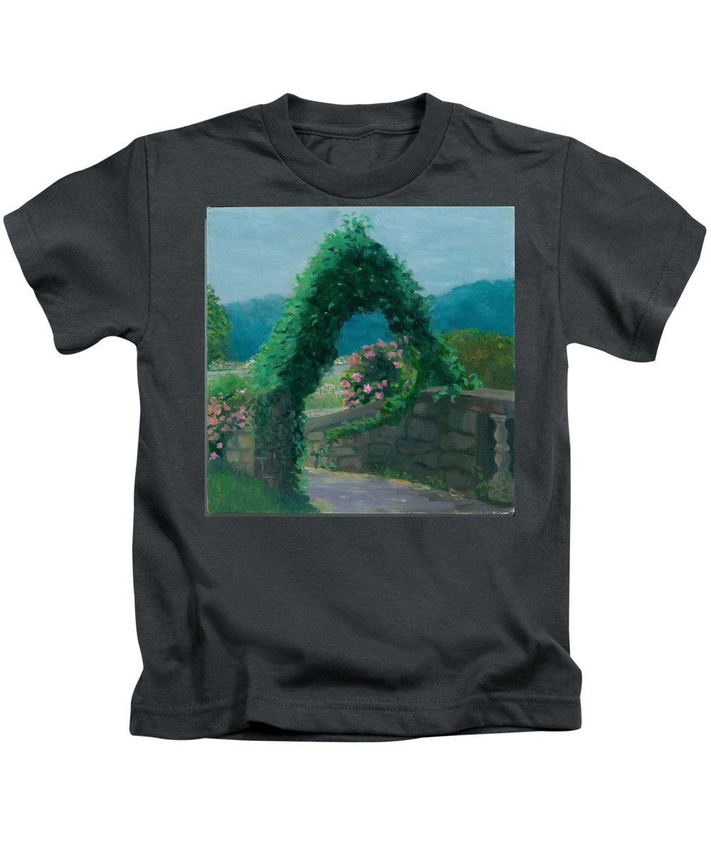 Landscape Kids T-Shirt featuring the painting Morning At Harkness Park by Paula Emery