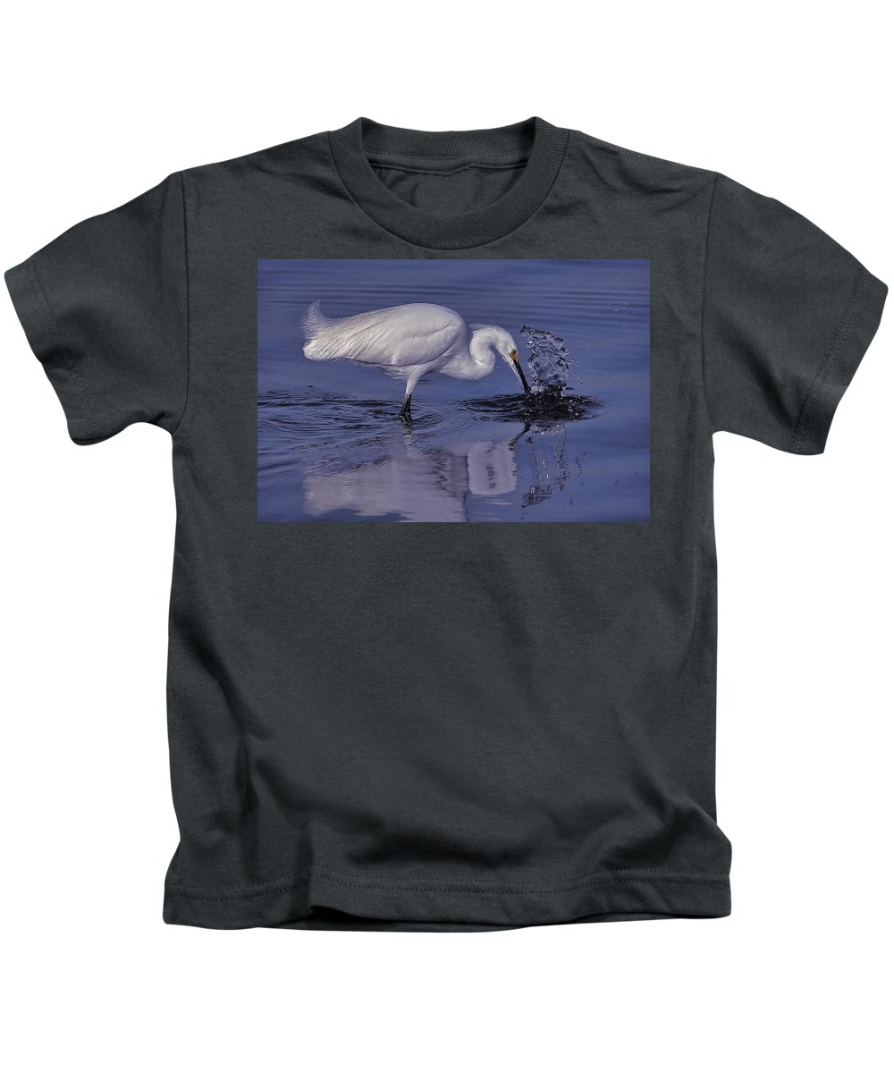 Snowy Egret Kids T-Shirt featuring the photograph Morning Catch by HH Photography of Florida