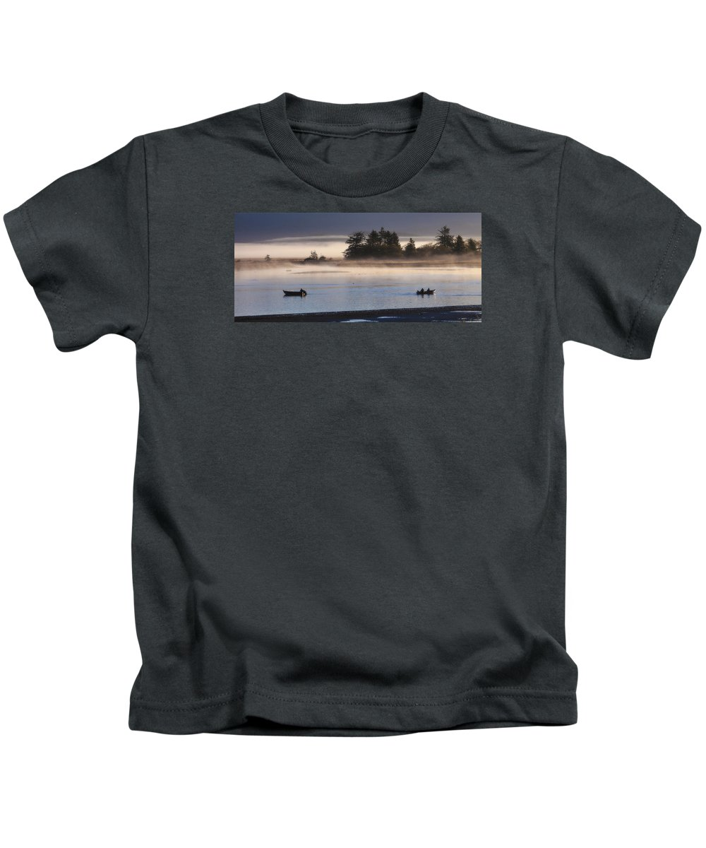 Sunrise Kids T-Shirt featuring the photograph Morning Fishing 3 by Jim Young